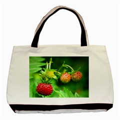 Strawberry  Twin Sided Black Tote Bag by Siebenhuehner