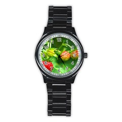 Strawberry  Sport Metal Watch (black) by Siebenhuehner