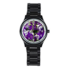 Cuckoo Flower Sport Metal Watch (black) by Siebenhuehner