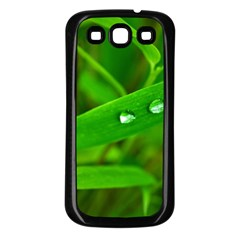 Bamboo Leaf With Drops Samsung Galaxy S3 Back Case (black) by Siebenhuehner
