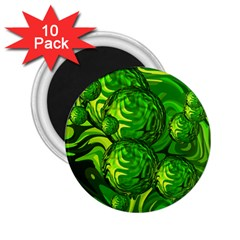 Green Balls  2 25  Button Magnet (10 Pack) by Siebenhuehner