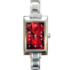 Red Bubbles Rectangular Italian Charm Watch by Siebenhuehner