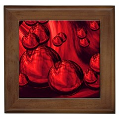 Red Bubbles Framed Ceramic Tile by Siebenhuehner
