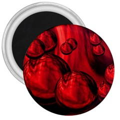 Red Bubbles 3  Button Magnet by Siebenhuehner