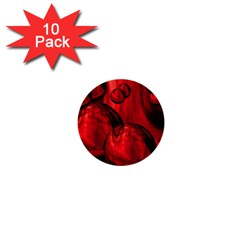 Red Bubbles 1  Mini Button (10 Pack) by Siebenhuehner