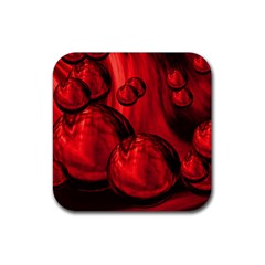 Red Bubbles Drink Coaster (square) by Siebenhuehner