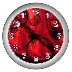 Red Bubbles Wall Clock (silver) by Siebenhuehner