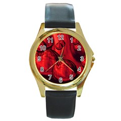 Red Bubbles Round Metal Watch (gold Rim)  by Siebenhuehner