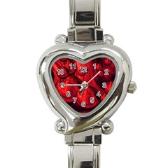 Red Bubbles Heart Italian Charm Watch  by Siebenhuehner