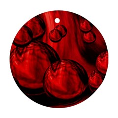 Red Bubbles Round Ornament (two Sides)