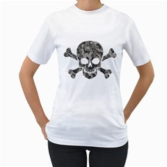 Camo Skull Womens  T-shirt (white)