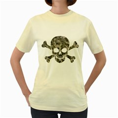 Camo Skull  Womens  T Shirt (yellow)