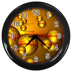 Sunset Bubbles Wall Clock (black) by Siebenhuehner