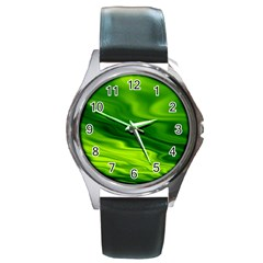 Green Round Metal Watch (silver Rim) by Siebenhuehner