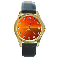Sunset Round Metal Watch (gold Rim)  by Siebenhuehner