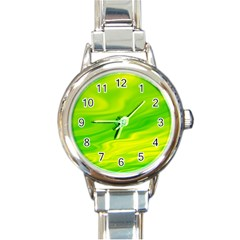 Green Round Italian Charm Watch by Siebenhuehner