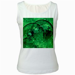Green Bubbles Womens  Tank Top (white) by Siebenhuehner