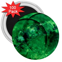 Green Bubbles 3  Button Magnet (100 Pack) by Siebenhuehner