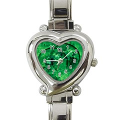 Green Bubbles Heart Italian Charm Watch  by Siebenhuehner
