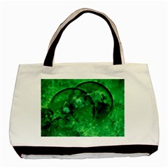 Green Bubbles Twin Sided Black Tote Bag by Siebenhuehner