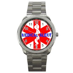 Medical Alert Health Identification Sign Sport Metal Watch by youshidesign