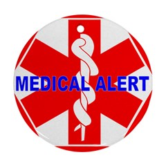 Medical Alert Health Identification Sign Round Ornament by youshidesign