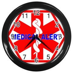 Medical Alert Health Identification Sign Wall Clock (black) by youshidesign