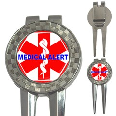 Medical Alert Health Identification Sign Golf Pitchfork & Ball Marker by youshidesign