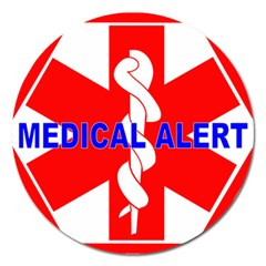 Medical Alert Health Identification Sign Magnet 5  (round) by youshidesign