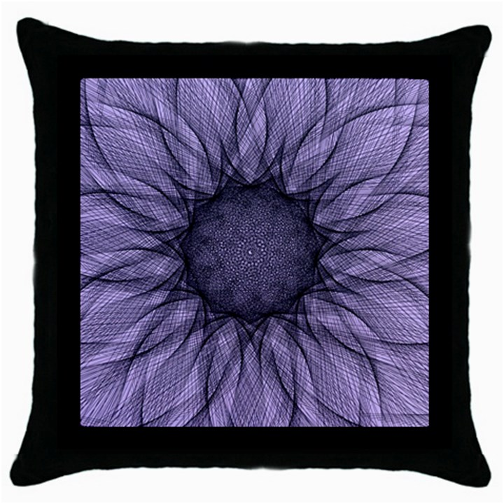 Mandala Black Throw Pillow Case