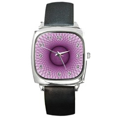 Spirograph Square Leather Watch by Siebenhuehner