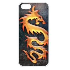 Golden Tribal Dragon Apple Iphone 5 Seamless Case (white)