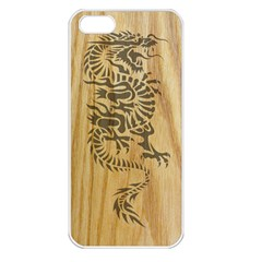 Tribal Dragon On Wood Apple Iphone 5 Seamless Case (white)