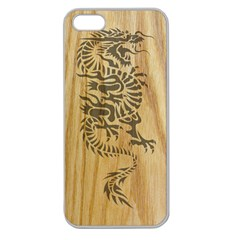 Tribal Dragon On Wood Apple Seamless Iphone 5 Case (clear)