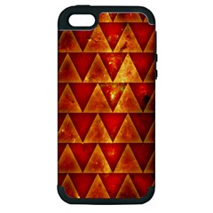 Orange Triangle Tiles Apple Iphone 5 Hardshell Case (pc+silicone)