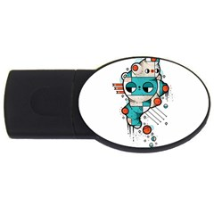Muscle Cat 2gb Usb Flash Drive (oval)