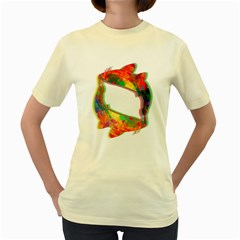 Illusion Of Koi  Womens  T Shirt (yellow)