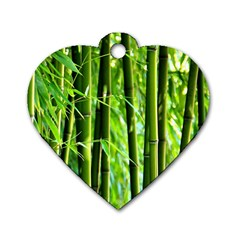 Bamboo Dog Tag Heart (two Sided) by Siebenhuehner