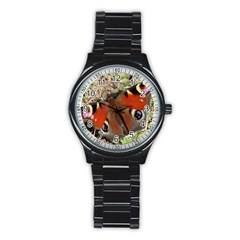 Inachis Io European Peacock Butterfly Sport Metal Watch (black)