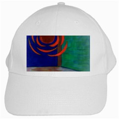 Red Orb White Baseball Cap by JacklyneMaeDesignsMarketingproducts