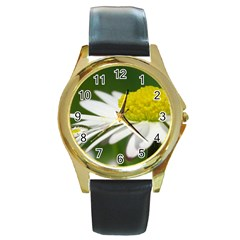 Daisy With Drops Round Leather Watch (gold Rim)  by Siebenhuehner