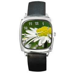 Daisy With Drops Square Leather Watch by Siebenhuehner