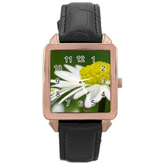 Daisy With Drops Rose Gold Leather Watch  by Siebenhuehner