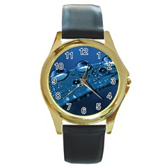 Drops Round Leather Watch (gold Rim)  by Siebenhuehner