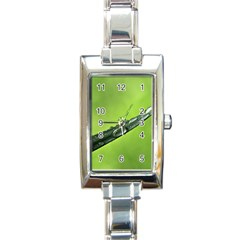 Green Drops Rectangular Italian Charm Watch by Siebenhuehner