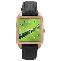 Green Drops Rose Gold Leather Watch  by Siebenhuehner