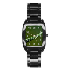 Grass Drops Stainless Steel Barrel Watch by Siebenhuehner