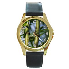 Bamboo Round Leather Watch (gold Rim)  by Siebenhuehner