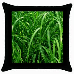 Grass Black Throw Pillow Case by Siebenhuehner