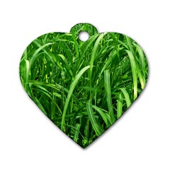 Grass Dog Tag Heart (one Sided)